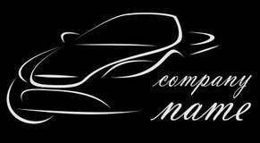 Logo de la société liée à la voiture sur un fond noir image libre de droits