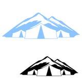 Logo de la tente dans les montagnes Photo libre de droits