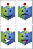 Logo de lecteur de livre d'expression de visage illustration stock