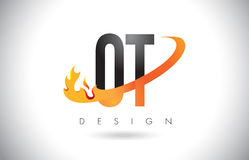Logo de lettre d'OT O T avec la conception de flammes du feu et le bruissement orange Photos stock