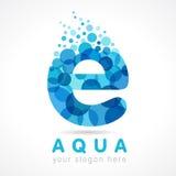 Logo de lettre de l'Aqua E Photographie stock libre de droits