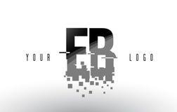 Logo de lettre de pixel d'eb E B avec les places noires brisées par Digital Photos stock
