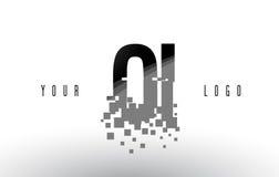 Logo de lettre de pixel d'OI O I avec les places noires brisées par Digital Images stock
