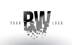 Logo de lettre de pixel de BW B W avec les places noires brisées par Digital Photographie stock libre de droits