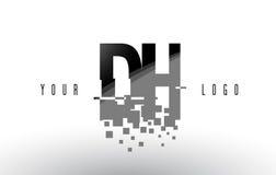 Logo de lettre de pixel de CAD D H avec les places noires brisées par Digital Photo libre de droits