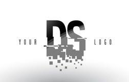 Logo de lettre de pixel de DS D S avec les places noires brisées par Digital Photos libres de droits