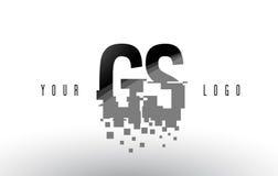Logo de lettre de pixel de GS G S avec les places noires brisées par Digital Photographie stock libre de droits