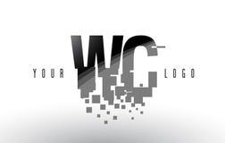 Logo de lettre de pixel de la carte de travail W C avec les places noires brisées par Digital Images stock