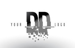 Logo de lettre de pixel de la densité double D D avec les places noires brisées par Digital Photos stock