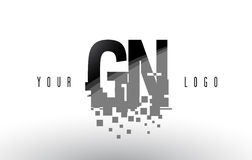 Logo de lettre de pixel de la GN G N avec les places noires brisées par Digital Image stock