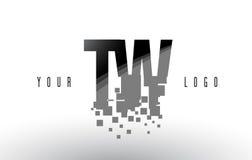 Logo de lettre de pixel de la TW T W avec les places noires brisées par Digital Image libre de droits