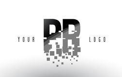 Logo de lettre de pixel de RP P R avec les places noires brisées par Digital Photographie stock libre de droits