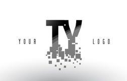 Logo de lettre de pixel de TY T Y avec les places noires brisées par Digital Photos stock