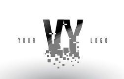 Logo de lettre de pixel de VY V Y avec les places noires brisées par Digital Image stock