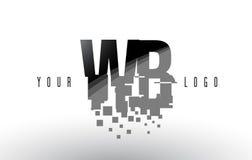 Logo de lettre de pixel de WB W B avec les places noires brisées par Digital Photo stock