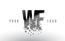 Logo de lettre de pixel de WF W F avec les places noires brisées par Digital Photos libres de droits