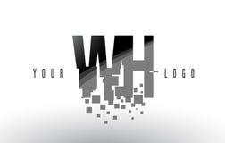 Logo de lettre de pixel de WH W H avec les places noires brisées par Digital Photos libres de droits