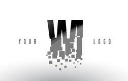 Logo de lettre de pixel de WI W I avec les places noires brisées par Digital Image stock