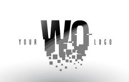 Logo de lettre de pixel de WQ W Q avec les places noires brisées par Digital Photos libres de droits