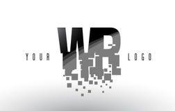 Logo de lettre de pixel de WR W R avec les places noires brisées par Digital Images libres de droits
