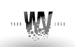 Logo de lettre de pixel de WV W V avec les places noires brisées par Digital Photographie stock