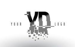 Logo de lettre de pixel de yard Y D avec les places noires brisées par Digital Photographie stock libre de droits