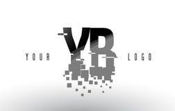 Logo de lettre de pixel de YB Y B avec les places noires brisées par Digital Image libre de droits