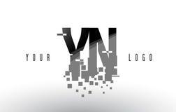 Logo de lettre de pixel de YN Y N avec les places noires brisées par Digital Photos libres de droits