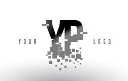 Logo de lettre de pixel de YP Y P avec les places noires brisées par Digital Image libre de droits