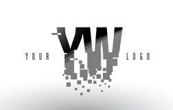 Logo de lettre de pixel de YW Y W avec les places noires brisées par Digital Images stock