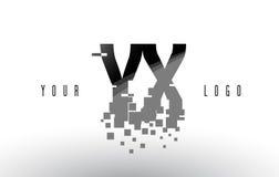 Logo de lettre de pixel de YX Y X avec les places noires brisées par Digital Image libre de droits