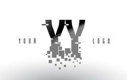 Logo de lettre de pixel de YY Y avec les places noires brisées par Digital Photographie stock libre de droits