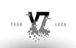 Logo de lettre de pixel de YZ Y Z avec les places noires brisées par Digital Image libre de droits