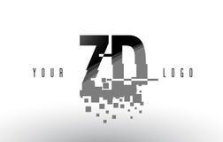 Logo de lettre de pixel de ZD Z D avec les places noires brisées par Digital Image libre de droits