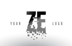 Logo de lettre de pixel de ZE Z E avec les places noires brisées par Digital Photo stock
