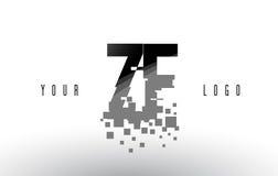 Logo de lettre de pixel de ZF Z F avec les places noires brisées par Digital Image libre de droits