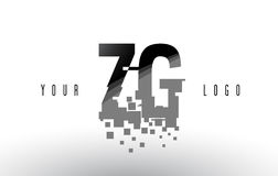 Logo de lettre de pixel de ZG Z G avec les places noires brisées par Digital Photos stock