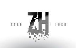 Logo de lettre de pixel de ZH Z H avec les places noires brisées par Digital Photographie stock