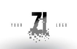 Logo de lettre de pixel de ZI Z I avec les places noires brisées par Digital Images stock