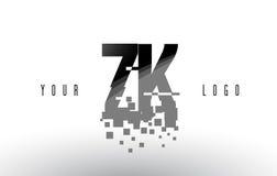 Logo de lettre de pixel de ZK Z K avec les places noires brisées par Digital Photo libre de droits