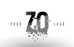 Logo de lettre de pixel de ZO Z O avec les places noires brisées par Digital Image stock