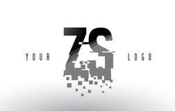 Logo de lettre de pixel de ZS Z S avec les places noires brisées par Digital Photo libre de droits