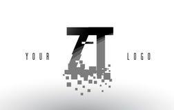 Logo de lettre de pixel de ZT Z T avec les places noires brisées par Digital Photographie stock