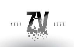 Logo de lettre de pixel de ZV Z V avec les places noires brisées par Digital Photos stock
