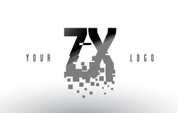 Logo de lettre de pixel de ZX Z X avec les places noires brisées par Digital Image stock