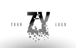 Logo de lettre de pixel de ZY Z Y avec les places noires brisées par Digital Image stock