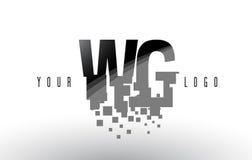 Logo de lettre de pixel du GT W G avec les places noires brisées par Digital Images libres de droits