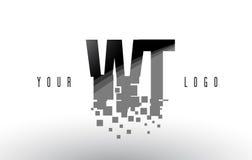 Logo de lettre de pixel du POIDS W T avec les places noires brisées par Digital Photo libre de droits