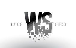 Logo de lettre de pixel du WS W S avec les places noires brisées par Digital Photographie stock