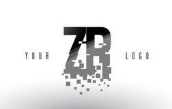 Logo de lettre de pixel du ZR Z R avec les places noires brisées par Digital Photo libre de droits